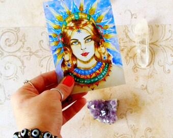Spiritual Art Goddess Mythology Prayer Card Inanna Fantasy Art Goddess Art Pagan Altar Art Divine Feminine Goddess Print Sacred Feminine