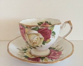 Queen Anne Lady Sylvia Teacup and Saucer Fine Bone China England English Roses Gold Trim