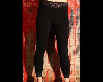 Black Cotton Spandex Lace-Waist Leggings XS S M L XL 2XL 3XL plus size stretch high waist high-waisted with Black Lace Trim goth