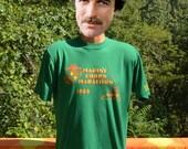 80s vintage t-shirt MARINE corps MARATHON 1983 road race usmc tee Medium Large run