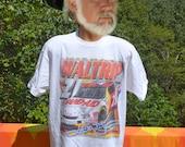 90s vintage tee shirt nascar MICHAEL WALTRIP car racing  white t-shirt Large chevy