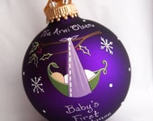 Holiday Edition Baby Ornament - Girl - Personalized, Purple