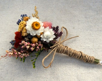 Romantic Montana Fall Boutonniere  Pin On or Wrist Corsage of Multi Colored Dried Flowers, Grasses and Grains by paulajeansgarden