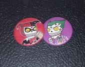 Joker and Harley Quinn Calaveras Pinback or Magnet Button Set