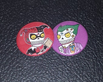 Joker and Harley Quinn Calaveras Pinback or Magnet Button Set