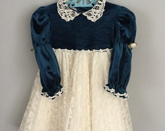 Vintage 90s Blue Velvet Lacy Party Dress Size 3t 4t