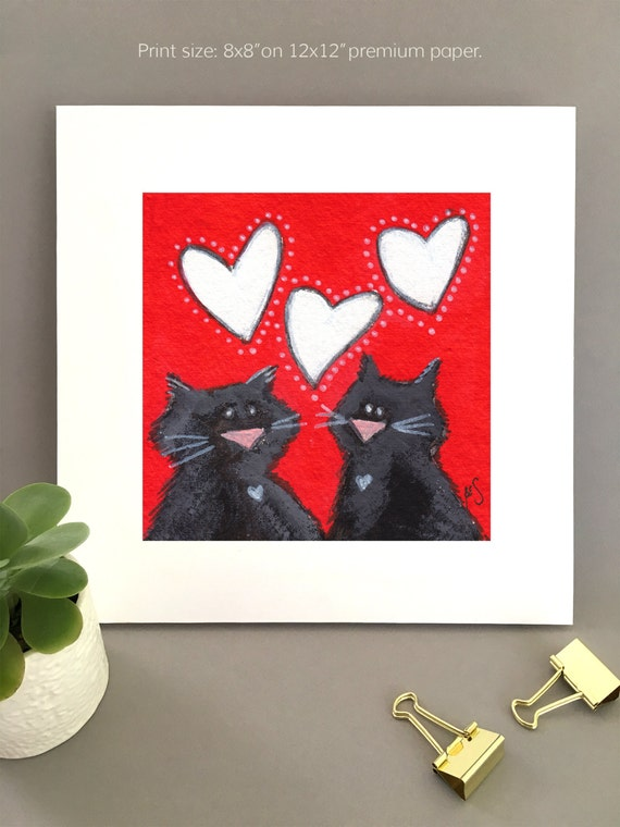 Funny Cat wall art, Two black cats painting, Best valentine gift, whimsical artwork, black cat wall art, cat lover gift idea, Giclée print