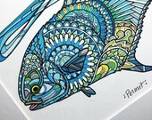 Limited Edition Permit Zentangle Gicleé Print 8.5x11 Conservation Matted to 11x14