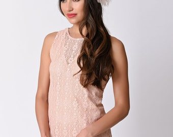 Pearly Girl Flapper Headband Champagne Pink Ostrich Plumes,  Pearl & Rhinestone Applique Stretch Headband Flapper, Great Gatsby Headband