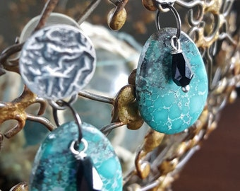 Evening Rain - Turquoise and Sterling Silver earrings