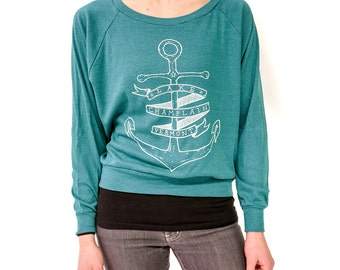 womens long sleeve anchor print lake champlain vermont womens tee womens clothing relaxed fit vermont shirt nautical teal blue