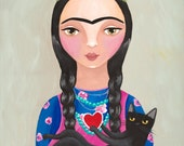 Frida and Black Cat Love Original Cat Folk Art Painting