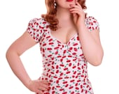 BETSY_19 Classic Rockabilly Shirt WHITE CHERRIES (LIMITED)