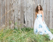 SAMPLE SALE - Cotton Sateen WaterColor Handpainted Floral Print Wedding Gown with Detachable Train - 34inch bust