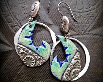 Enameled Charms, Moons, Tribal, SouthWest, Aztec,Hoops, Sterling Silver, Beaded Earrings