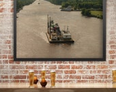 Mississippi River Photography, Rustic Wall Art, Boat Photography, River Barge, Southern Decor, Louisiana, Cajun Decor, Creole