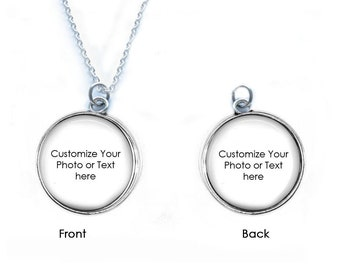 Custom Photo Quote Necklace, Photo Keychain, Picture Charm, Personalized Your Quote or Photo, Double Sided Keychain, Reversible Necklace