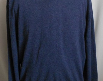 Vintage 90s Men Heather Navy Blue Cashmere Sweater, 1990s Two Ply Vee Neck Pullover, Size XL 1X