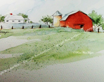 Old Farm with Red Barn Print of my Watercolor Painting