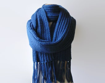 Blue Scarf, Long Scarf, Wool Scarf, Womens Scarves, Mens Scarf, Winter Scarf, Chunky Knit Scarf, Wrap Scarf, Hand Knitted Scarf, Merino Wool