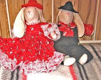 Country Western Rabbit Doll Set of Two Boy and Girl Dressed in Red