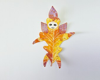 Oak Leaf Paper Doll in Autumn Colors