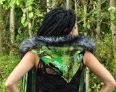 SALE Festival Hood, HEART oN Interstellar Weave ScoodiE, Green Hood w Fringe Falls, Festival Clothing, HippiE  PixiE Intergalactic Apparel