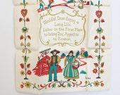 vintage linen tea towel - Amish Motto - kitchen hand towel - by hand - unused - nos