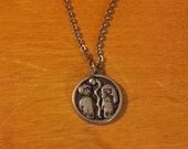 vintage Jorgen Jensen pewter Adam and Eve pendant charm necklace Denmark
