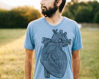 Fathers Day shirt - mens graphic tee - anatomical heart with tree rings on heather blue - nature lover t shirt for men - The Transplant