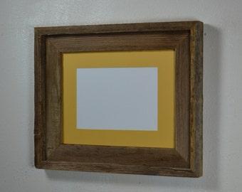 Eco friendly  8x10 reclaimed wood frame with 5x7 yellow mat