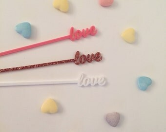 Love Drink Stirrers - Set of 6 Laser Cut Acrylic Stir Sticks