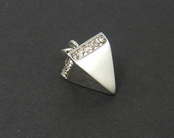 Silver Pyramid Pendant Geometric Triangle Charms Clear Rhinestone Jewelry Component |S24-16|1
