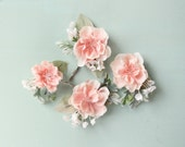 Hair pin set, pink flower clips, Bridal clip set, Pink blush wedding accessory, Pastel pink and sage green bobby pin flowers - GO LIGHTLY