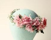 Bridal flower wreath, Pink flower crown, Vintage millinery headpiece, Bridal hair crown, Floral headpiece, Boho bridal crown, Pink wedding