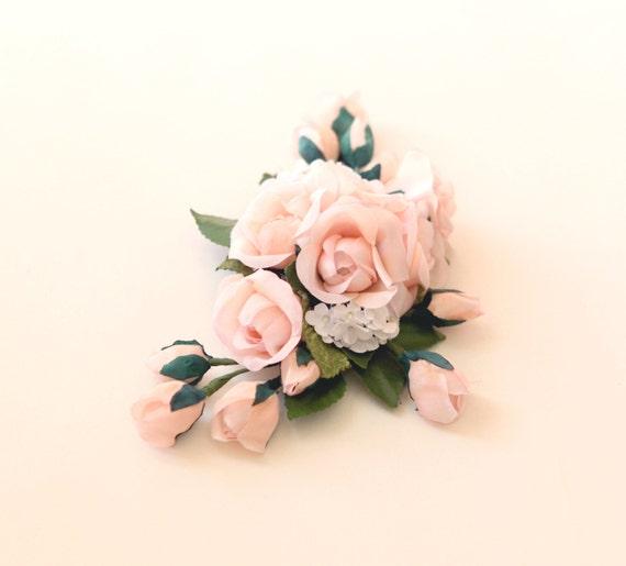 Pink rose flower clip, Pastel Floral bridal clip, Unique wedding hair accessory, Updo side bun back clip, Blush bridal clip
