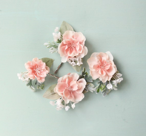 Hair pin set, flower clips, Bridal clip set, pink OR white, blush wedding accessory, Pastel pink and sage green bobby pin - GO LIGHTLY