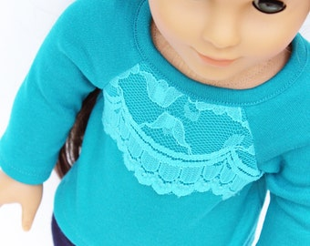 Fits like American Girl Doll Clothes - The Arrow Jewel Tone Collection, Lace Overlay Teal Raglan Tee, Made To Order