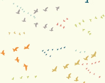 Birch Flight Multi Organic Cotton Fabric Birds