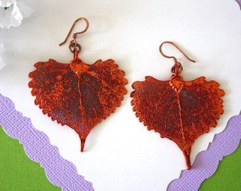 Copper Leaf Earrings, Medium Leaf, Real Cottonwood Leaf, Real Leaf Earrings, Lacey Oak Leaf, Copper, Earrings, Nature, LEP51