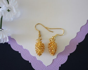 Gold PineCone Earrings, Gold Pine cones Earrings, Real Pinecones, Gold Pinecones, Small Pine Cones, PC72