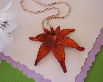 Copper Japanese Maple Leaf Necklace, Real Silver Leaf, Real Maple Leaf Necklace, Maple Leaf, Rose Gold Filled, LC89