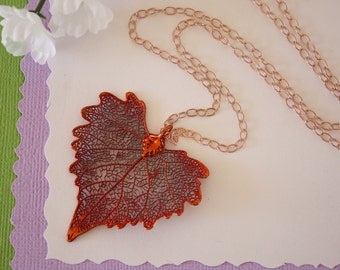Copper Cottonwood Leaf Necklace, Real Copper Leaf, Real Cottonwood Leaf Necklace, Heart Shape Leaf, Rose Gold Filled, LC111