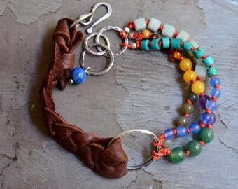 Mixed Stone Knotted Bracelet - Braided Leather Bracelet - Sterling Silver Link Bracelet - Red Silk Bracelet - Colorful Gemstone Bracelet