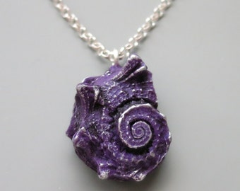 Seashell Pendant Necklace, Polymer Clay, Purple and Silver