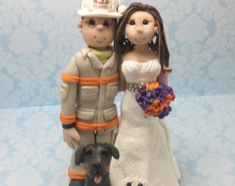 Fireman Wedding Cake topper, Custom wedding cake topper, personalized cake topper, Bride and groom cake topper, Mr and Mrs cake topper