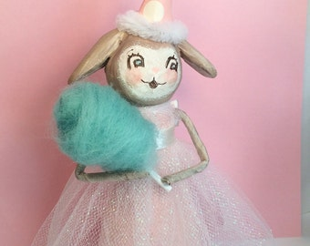 Lop ear bunny birthday girl shabby pastel pink cake topper centerpiece party decor paper clay rabbit cotton candy
