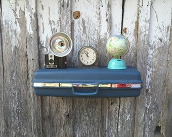 Vintage Blue 1970's Era Aspen Upcycled Suitcase Repurposed into Wall Shelf