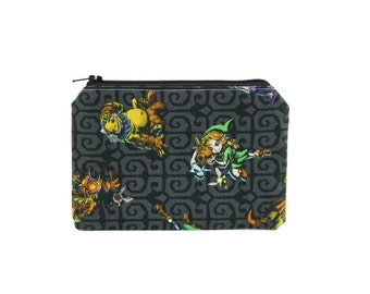 Legend of Zelda Bag / Link Ocarina of Time Pouch / Goron and Majora's Mask Zipper Pouch