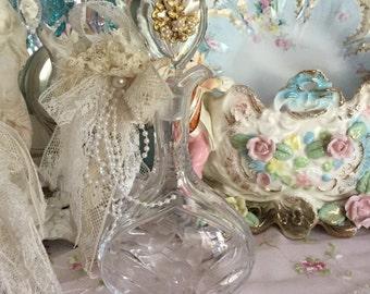 On SALE!!!!   Vintage lace and pearl embellished bottle